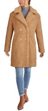 Petite Double-Breasted Faux-Fur Teddy Coat