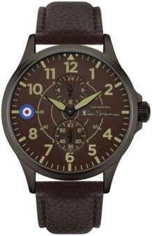 Brown Genuine Leather Strap Multifunction Watch, 44mm