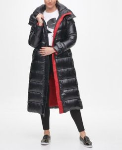 Contrast Maxi Belted Puffer Coat