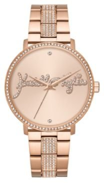 Rose Gold Tone Crystal Signature Stainless Steel Strap Analog Watch 40mm