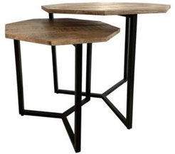 Rusnak High Mango and Iron Frame Nesting Tables, Set of 2