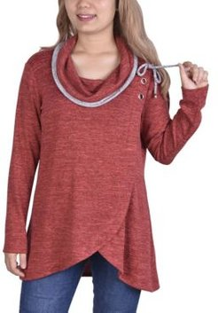 Long Sleeve Crossover Front Cowl Neck