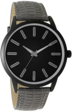 Inc Men's Gray Embossed Faux Leather Strap Watch 45mm, Created for Macy's