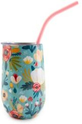 by Cambridge 16 oz Turquoise Floral Insulated Straw Tumbler