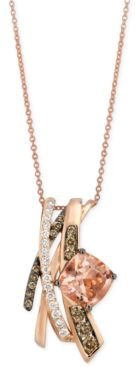 Chocolatier Peach Morganite (1-3/4 ct. t.w.) and Diamond (5/8 ct. t.w.) Pendant Necklace in 14k Rose Gold, Created for Macy's