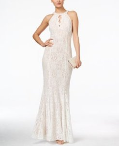 Lace Keyhole Halter Gown