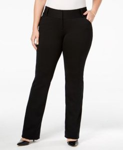 Plus Size Tummy-Control Faux-Leather Trim Trousers, Created for Macy's