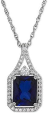 Lab-Created Blue Sapphire (3 ct. t.w.) and White Sapphire (1/4 ct. t.w.) Pendant Necklace in Sterling Silver