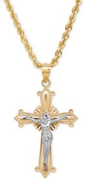 Two-Tone Crucifix Cross Pendant Necklace in 14k Gold and White Gold