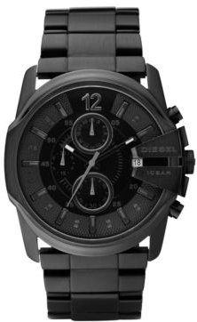 Mens Chronograph Black Ion Plated Stainless Steel Bracelet Watch 49x45mm DZ4180
