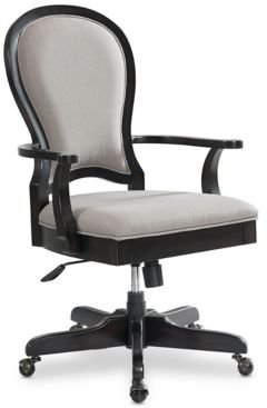 Clinton Hill Ebony Home Office Round Back Upholstered Desk Chair