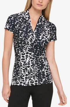 Animal Print Ruched Top