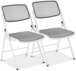 ProGrid Mesh Seat and Back Folding Chair (Set Of 2)