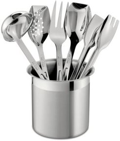 Stainless Steel 6 Piece Cook and Serve Kitchen Utensil Crock Set