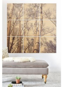 Olivia St. Claire Winter Birch Tree 9-Pc. Printed Wood Wall Mural