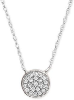 """Diamond Accent Button Pendant Necklace in Sterling Silver, 15"""" + 1"""" extender, Created for Macy's"""