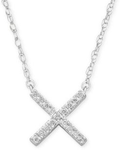 """Diamond Accent Crisscross Pendant Necklace in Sterling Silver, 15"""" + 1"""" extender, Created for Macy's"""