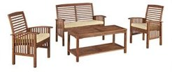 4-Piece Acacia Wood Outdoor Patio Conversation Set with Cushions - Dark Brown