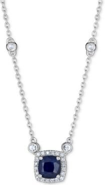 """Sapphire (1 ct. t.w.) & White Sapphire (9/10 ct. t.w.) Station 16"""" Pendant Necklace in Sterling Silver"""