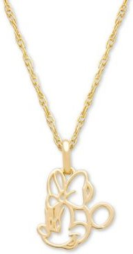 """Children's Minnie Mouse Outline 15"""" Pendant Necklace in 14k Gold"""