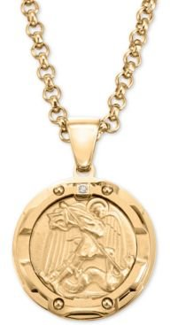 """Diamond Accent St. Michael Medallion 24"""" Pendant Necklace in Yellow Ion-Plated Stainless Steel"""