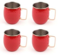 Scarlet 18-Ounce Hammered Moscow Mule Mugs, Set of 4