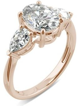 Moissanite Oval Three Stone Ring (3 ct. tw. Diamond Equivalent) in 14k Rose Gold