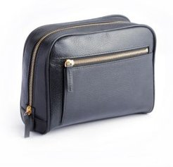 Pebbled Toiletry Bag with Front Zipper Compartment
