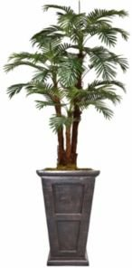 """85"""" Tall Palm Tree Artificial Decorative Faux with Burlap Kit and Fiberstone Planter"""