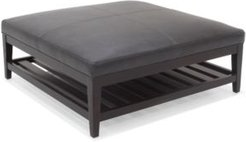 """Canillo 42"""" Leather Cocktail Ottoman with Wood Base"""