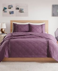 Closeout! Intelligent Design Shyla Twin/Twin Xl 2 Piece Solid Coverlet Set With Fringe Bedding
