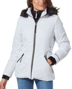 Quilted Coat With Faux Fur Hood & Interior Bib