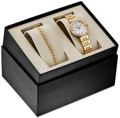 Gold-Tone Stainless Steel Bracelet Watch 33mm Gift Set