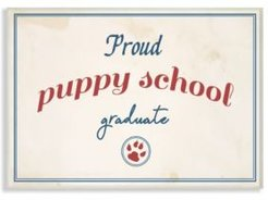 "Proud Puppy School Grad Paw Print Wall Plaque Art, 10"" x 15"""