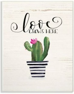 """Love Grows Here Cactus Wall Plaque Art, 12.5"""" x 18.5"""""""