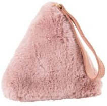 Faux Fur Bag with Wrist Strap in Triangle Shape