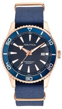 Pacific Beach Navy, Rose Gold Fabric Strap Watch 44mm
