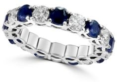 Effy Sapphire(2-9/10 ct. t.w) & Diamond (2-1/5 ct. t.w.) Eternity Band in 14k White Gold(Also Available In Certified Ruby, Emerald, and Pink Sapphire)