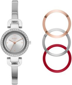 City Link Stainless Steel Bangle Bracelet Watch 27mm Gift Set