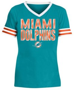 Big Girls Miami Dolphins Sequin Stripe T-Shirt