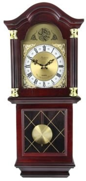 """Clock Collection 26"""" Antique Chiming Wall Clock with Roman Numerals"""