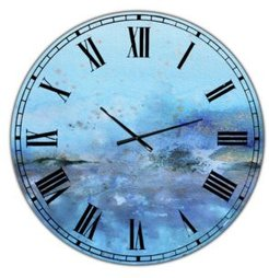 """Blue and Gold Water Impression Large Modern Wall Clock - 23"""" x 23"""" x 1"""""""