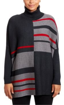 Colorblocked Turtleneck Poncho