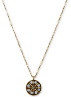 """Gold-Tone Hammered Mother-of-Pearl Pendant Necklace, 18"""" + 2"""" extender"""