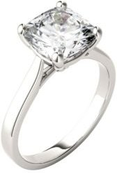 Moissanite Cushion Solitaire Ring 3-1/3 ct. t.w. Diamond Equivalent in 14k White Gold