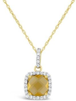 Citrine (1-1/3 ct. t.w.) and Created White Sapphire (1/6 ct. t.w.) Pendant Necklace in 10k Yellow Gold