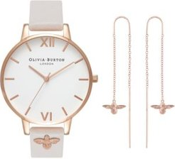 Bee Blush Leather Strap Watch 38mm Gift Set