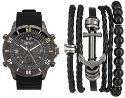 Black/Grey Analog Quartz Watch And Stackable Gift Set