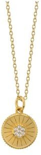 """Cubic Zirconia Circle Pendant Gold Plated Necklace, 16""""+ 2"""" Extender"""
