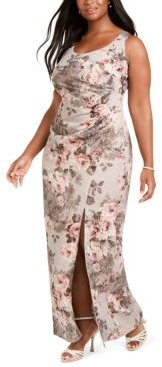 Plus Size Floral Ruched Gown